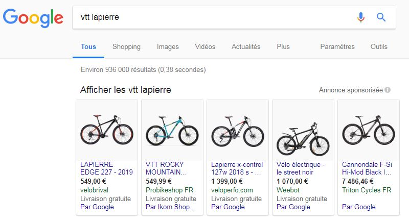 Publicité Google Shopping