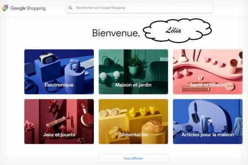 Aperçu de l'interface de Google Shopping Actions