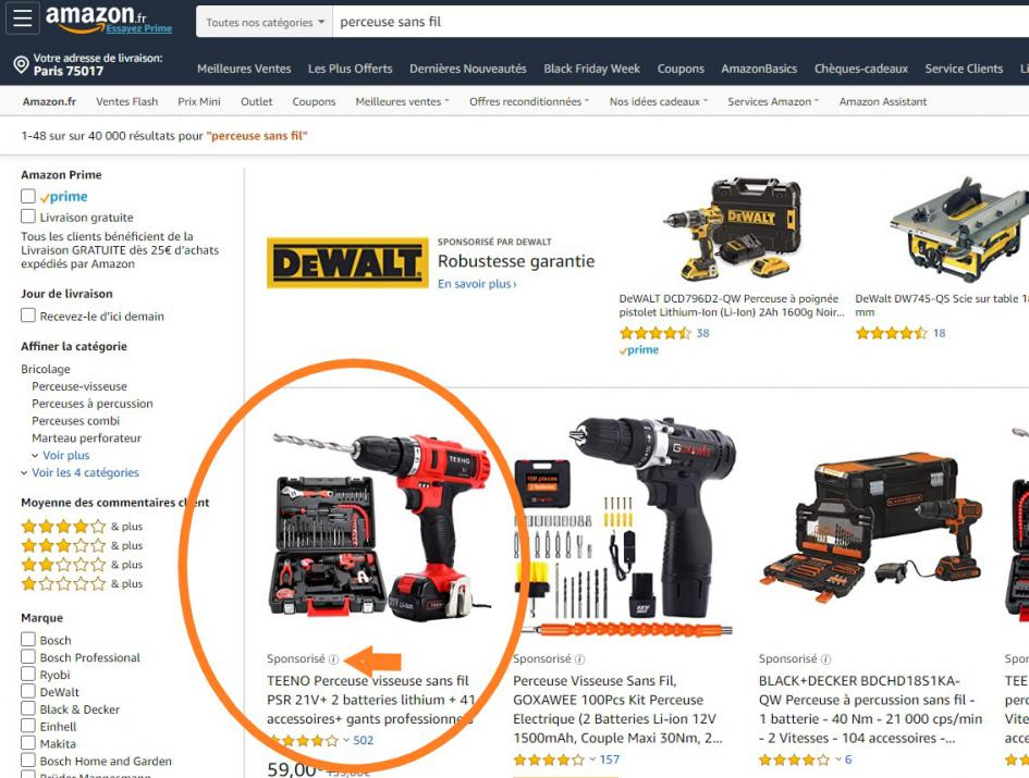 Amazon Sponsored Products exemple